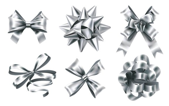 Realistic silver foil bows. Decorative bow, metallic favor ribbon and christmas gift bows signs. Luxury wrapping bows ribbons, christmas gifts knot. 3D isolated vector illustration icons set