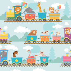Seamless animals on train pattern. Happy animal in railroad car, trains trip and children. Elephant, tiger and giraffe on locomotive wrapping, wallpapper or fabric cartoon vector illustration