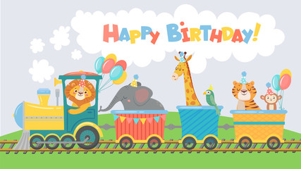 Animals on train greeting card. Happy birthday cute animal in railroad car, pets ride on toy locomotive funny poster. Elephant, lion and giraffe character travel cartoon illustration