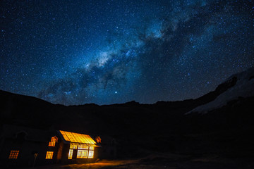 Milky Way and starry skies over a lodge in the Andes mountains. Cusco, Peru