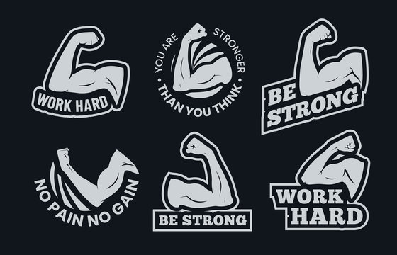 Powerful biceps muscle inspirational quotes. Be strong, work hard arm muscles and power gym. Bodybuilding and fitness signs, athletic exercise badge or motivation quotes. Isolated vector icons set