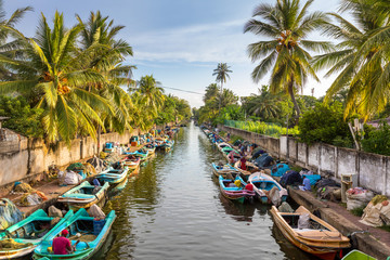 The colorful boats are docked along the banks of Hamilton's Canal in fishing village district of Negombo, Sri Lanka.