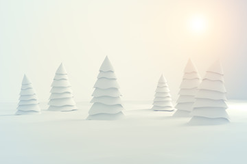 abstract white christmas tree isolated on white background - 3d illustration
