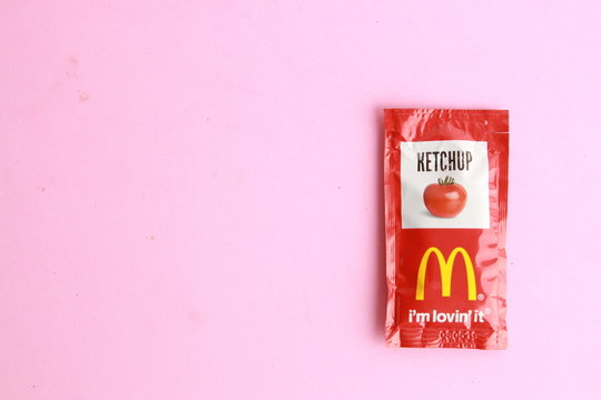 Saragossa Spain. September 18, 2018, McDonald's ketchup sachet. McDonald's is the world's largest chain of fast food restaurants