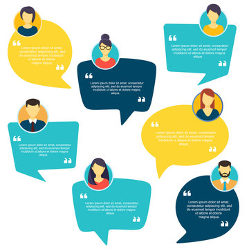 Testimonial Speech bubble concept, customer feedback for info graphic, application for info graphic, application and website. Creative testimonials template with different shapes. Vector illustration.