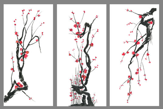Set of sakura blossom branches. Pink and red stylized flowers of plum mei and  wild cherry . Watercolor and ink illustration of tree in style sumi-e, go-hua,  u-sin. Oriental traditional painting. .