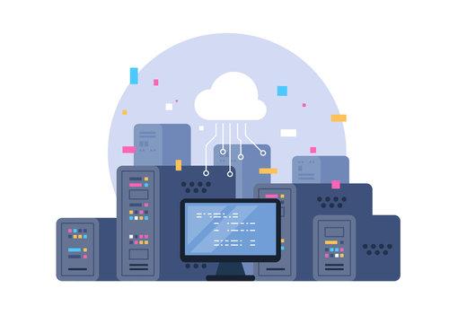 Data center. Hosting, cloud storage, server storage. Big data.