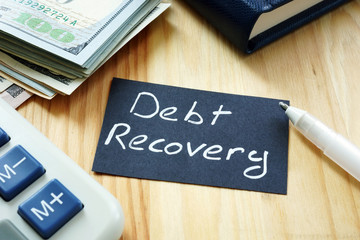 Text sign showing hand written words Debt recovery
