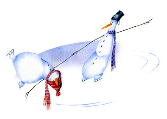 Two snowmen dancing on ice hand drawn in watercolor isolated on a white background. Christmas watercolor illustration. Watercolor snowmen. Picture from Snowmen collection.