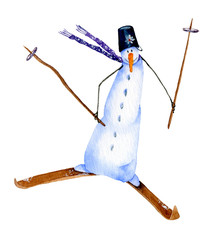 A cute cartoon skiing snowman hand drawn in watercolor isolated on a white background. Christmas watercolor illustration. Watercolor snowmen. Picture from Snowmen collection.