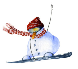 Cute cartoon snowman-snowboarder hand drawn in watercolor isolated on a white background. Christmas watercolor illustration. Watercolor snowmen. Picture from Snowmen collection.