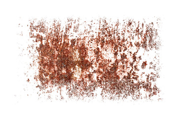 pieces of rust isolated on a white background.