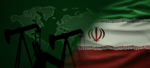 Global Oil Export. Iranian Flag with world map and oil pump station in the background. Partnership and conflicts.