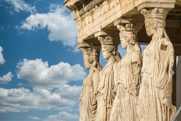 Wall Murals Place of worship Caryatids at Erechtheum of Parthenon in Athens Greece