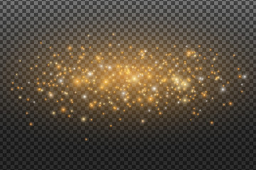 Wall Mural - Abstract flying magical dust isolated on a transparent dark background. Golden dust and glares. Christmas lights. Light effect. Vector illustration