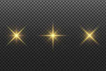 Wall Mural - Set of abstract glowing stars isolated on a transparent dark background. Golden glare. Christmas elements. Light effect. Vector illustration