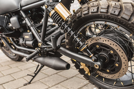Motorcycle Rear Wheel on Shock Absorber and Spring - Suspension
