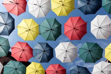 Colorful umbrellas of the rue du Cul-de-Sac, in the Quartier Petit Champlain, in Quebec City