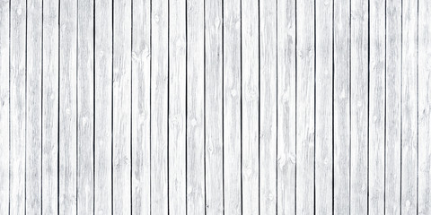 White painted old wooden board spacious texture. Wide light wood background. Whitewashed widescreen vintage rustic background