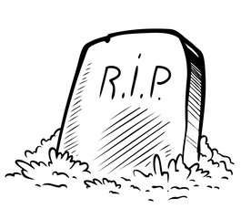 Cartoon graphic black and white tomb gravestone with R.I.P text. Isolated on white background. Halloween vector icon.