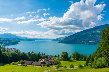 View from the Meielisalp near Leissingen to Lake Thun