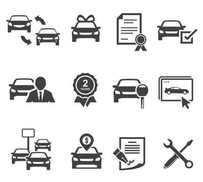 Car dealership black glyph icons vector set