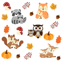 Woodland Animals background. Raccoon, fox, squirrel, owl and deer cartoon.