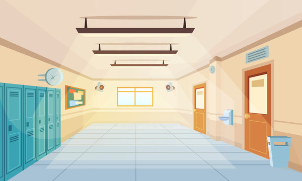 Color cartoon high school hallway vector illustration