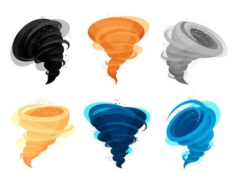 Tornado winds flat colorful vector illustrations set