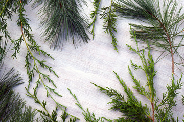 Horizontal flat lay of various evergreen boughs against a white-washed wood background, with copy space