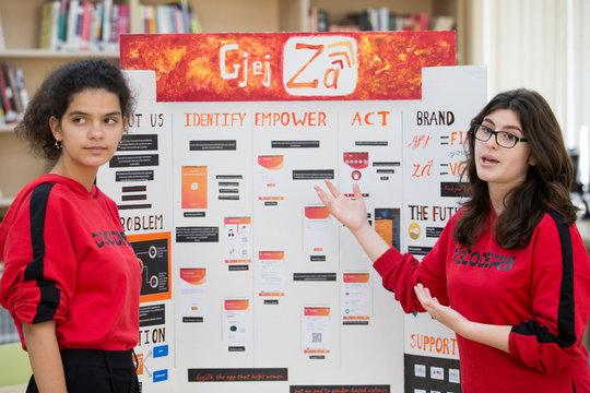 "Dea Rrozhani and Jonada Shukarasi creators of ""GjejZa"" app, present in Tirana"