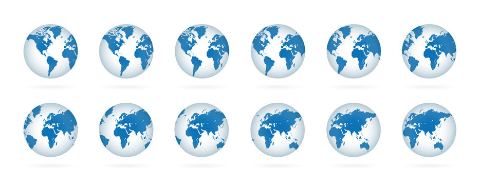 Realistic world globe maps set. 3D blue planets illustration