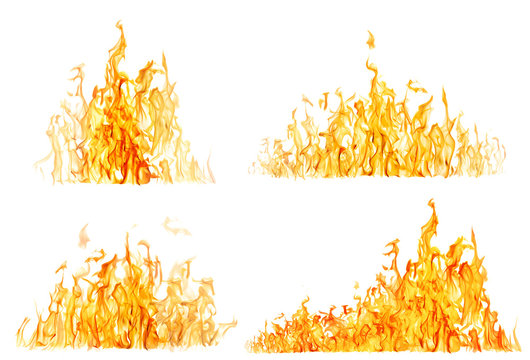set of high yellow flames isolated on white
