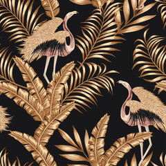 Foto op Canvas Botanisch Golden bird flamingo gpld leaves seamless black background