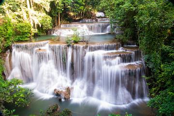 Beautiful waterfall Huai Mae Khamin at Kanchanaburi Province in west Thailand.