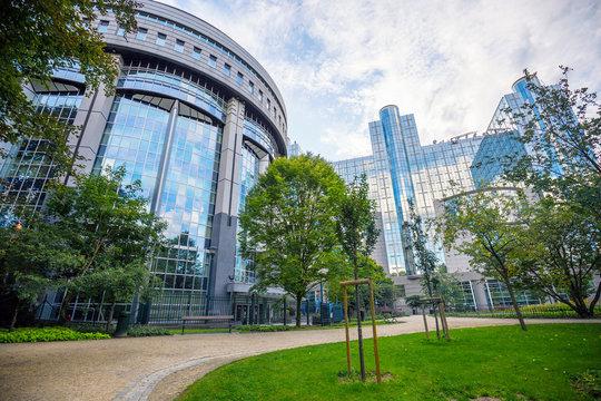 The European Parliament building in Brussels, Belgium