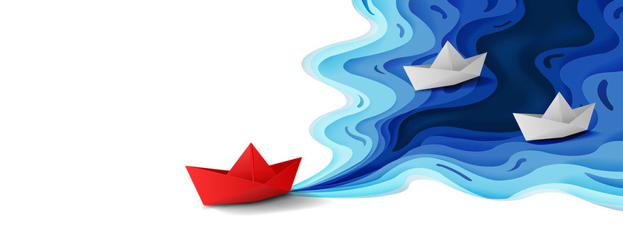 Leadership concept, Origami red paper boat floating in front of white paper boats on blue water polygonal trendy craft style, Paper art design banner background