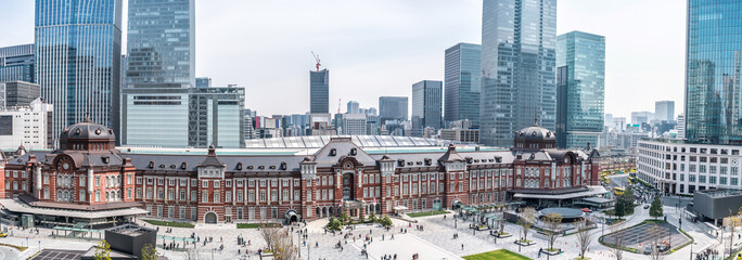 TOKYO, JAPAN - March 25 2019: Tokyo Station in Tokyo, Japan. Open in 1914, a major a railway station near the Imperial Palace grounds and Ginza commercial district