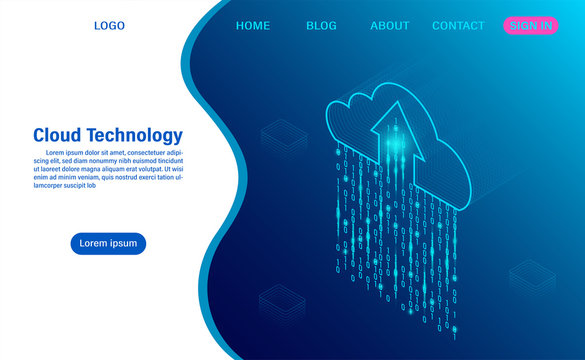 Cloud Computing technology Concept. Digital service or app with data transfering. data processing Protecting data security concept. isometric flat design