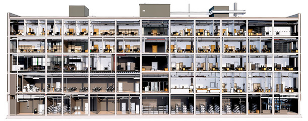 Section view visualization of the interior room space of building without a front facade wall