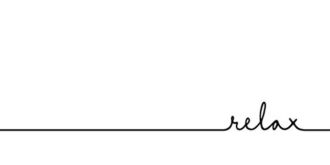 Relax - continuous one black line with word. Minimalistic drawing of phrase illustration