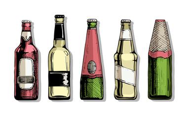 Wall Mural - Set of Beer bottle