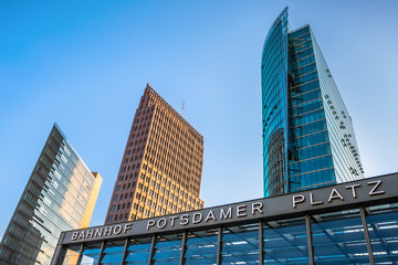 Towers and train station entrance in Potsdamer Platz, Berlin, Germany