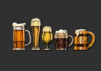 Wall Mural - set of beer glasses