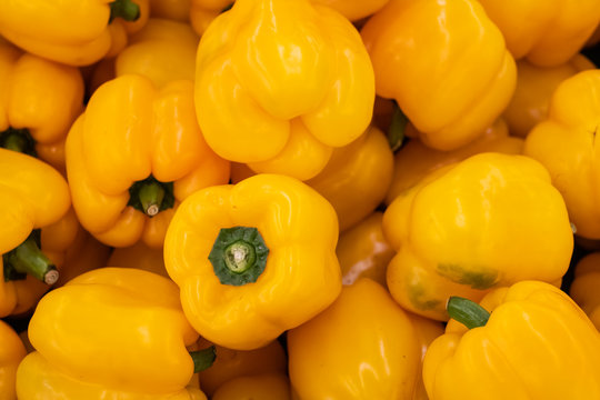 Yellow bell peppers paprika, natural background