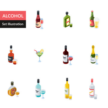 Alcohole vector 3d isometric, color web icon, new flat style. Creative illustration design, idea for infographics.