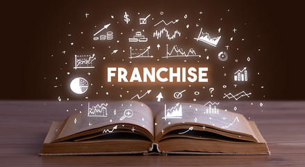 FRANCHISE inscription coming out from an open book, business concept