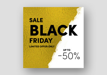 Black Friday Sale Card Layout with Gold Texture