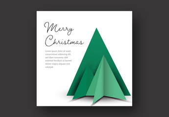 Christmas Card Layout with Geometric Green Trees