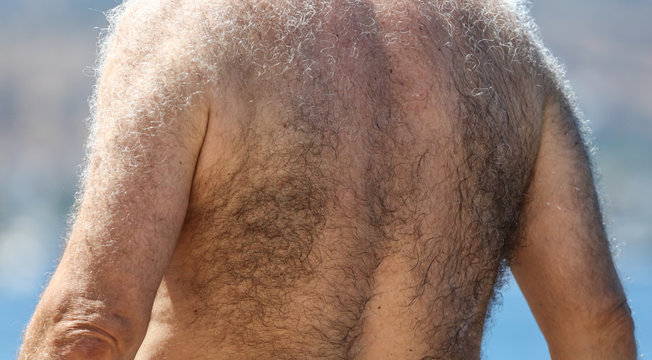 Hair on the back of a man